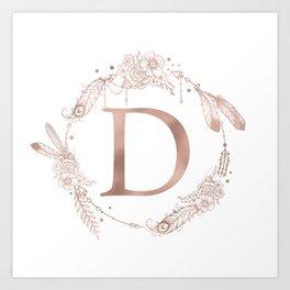 Letter D Rose Gold Pink Initial Monogram Art Print