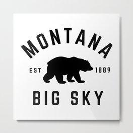 Montana Grizzly Bear Big Sky Country Established 1889 Vintage Metal Print
