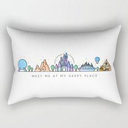 Meet me at my Happy Place Theme Park Skyline Rectangular Pillow
