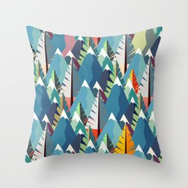Mountains and Spruces Pattern Throw Pillow