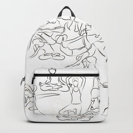 Yoga Asanas black on white Backpack