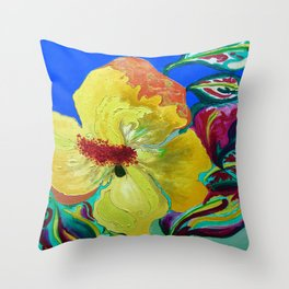 Birthday Acrylic Yellow Orange Hibiscus Flower Painting with Red and Green Leaves Throw Pillow