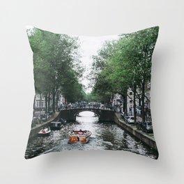 Canal Cruise Throw Pillow