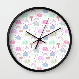 Cute pink elephant rainbow floral animal pattern Wall Clock