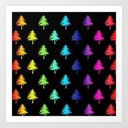 Black Rainbow Trees Art Print