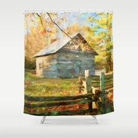 cabin Shower Curtains featuring Pucketts Cabin by ThePhotoGuyDarren