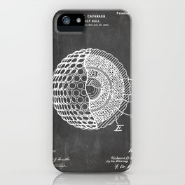 Golf Ball Patent - Golfer Art - Black Chalkboard iPhone Case