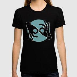 Sign Language (ASL) Interpreter – Black on Turquoise 00 T-shirt