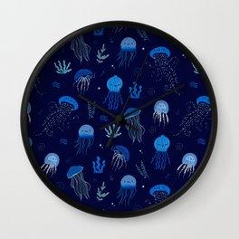 Ocean of jellyfish - pattern Wall Clock