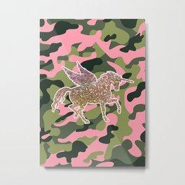 Girl Power Flying Unicorn Metal Print