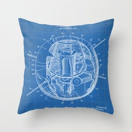 Space Satellite Patent - Outer Space Art - Blueprint Throw Pillow