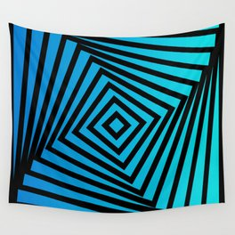 Squares twirling from the Center. Optical Illusion of Perspective bu Squares twirling Wall Tapestry