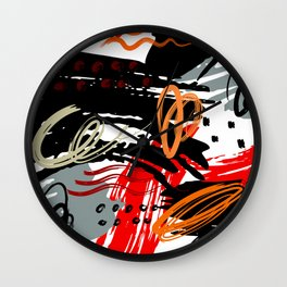 Abstract Red Black Gray and White  Circular Art Design Wall Clock