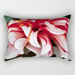 Red And White Dahlia Rectangular Pillow