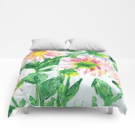 Dahlias on a cloudy day Comforters