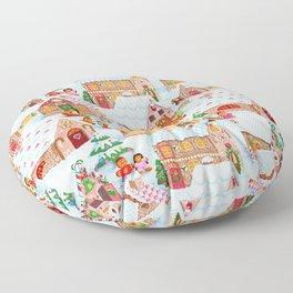 Gingerbread Village Floor Pillow