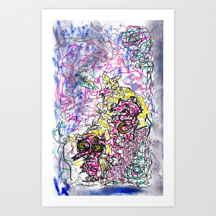 fzzy - mix media, ink and oil pastel Art Print