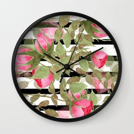 Watercolor . Buds of roses on a striped black and white background Wall Clock