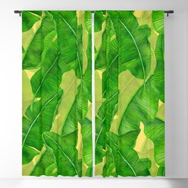 Banana leaves watercolor pattern Blackout Curtain