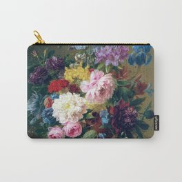 Arnoldus Bloemers - Flowers with Fruit and a Bird's Nest on a Marble Ledge Carry-All Pouch