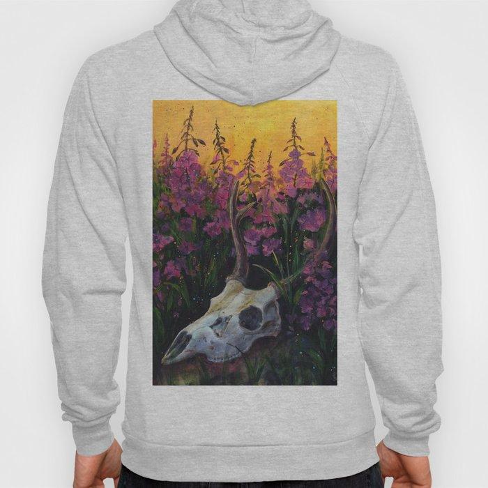 Deer skull in Fireweed Hoody