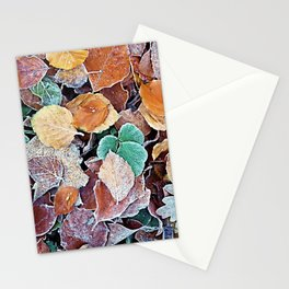 Icy Autumn Leaves Stationery Cards