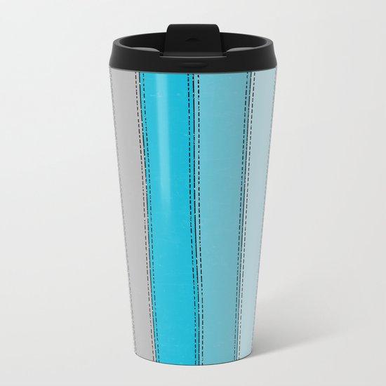 Blue Lines Metal Travel Mug