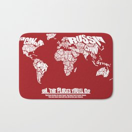 Oh The Places You'll Go - World Word Map with Dr. Seuss Quote Bath Mat