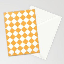 Large Diamonds - White and Pastel Orange Stationery Cards