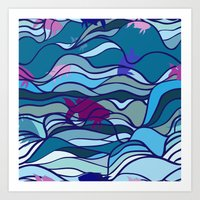 waves with fish pattern Art Print