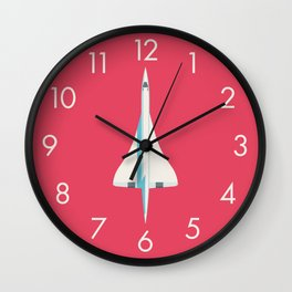 Concorde Supersonic Jet Airliner - Crimson Wall Clock