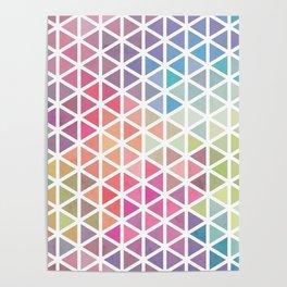 Geometric Fractal Triangles Bubblegum Rain Poster