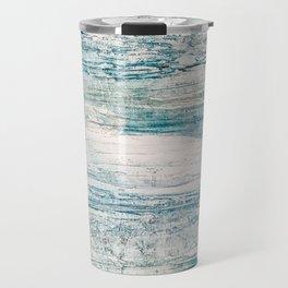 Sea Foam Blue Acrylic Textured Painting Travel Mug