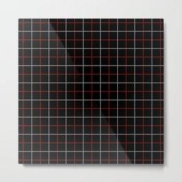 Tattersall Windowpane Check Plaid (black/white/red) Metal Print