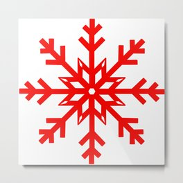 Red Snowflake, Christmas and Holiday Fantasy Collection Metal Print