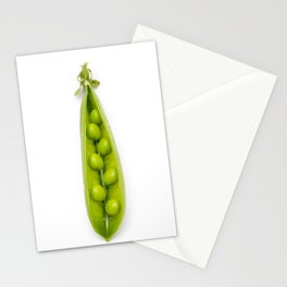 Green pea pod on a white background Stationery Cards