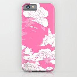 Pink JaPanese Flowers. & Bird iPhone Case