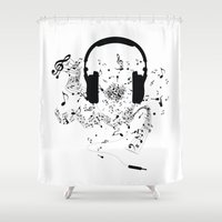 music notes Shower Curtains featuring Headphones and Music Notes by JuyoDesign