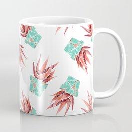 Aloe Vera Plant, Geometric, Coral, Mint, Rose Gold Coffee Mug