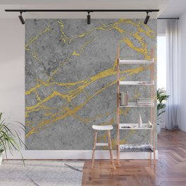 Grey Marble and Gold Wall Mural