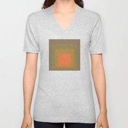 Block Colors - Muted Earthy Tones and Bright Orange Unisex V-Neck
