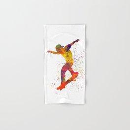 Boy on skateboard illustrated in watercolor 01 Hand & Bath Towel