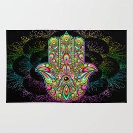 Hamsa Hand Amulet Psychedelic Rug