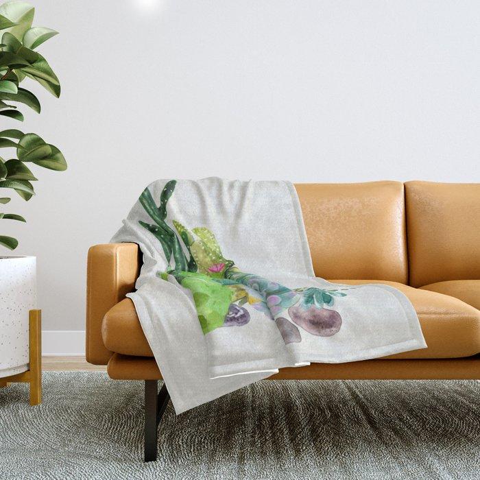 Cactus Garden II Throw Blanket