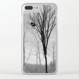 Black and White Crow Tree Fog Mist Modern Cottage Art  A532 Clear iPhone Case
