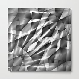 Exclusive mosaic pattern of chaotic black and white fragments of glass, metal, glare and ice floes. Metal Print