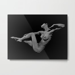 0043-DJA Zebra Stretching Nude Woman Yoga Black White Abstract Curves Expressive Line Slim Fit Girl Metal Print