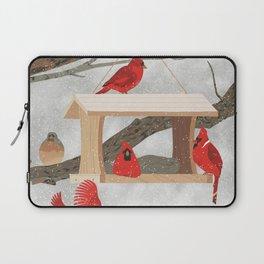 Cardinals at bird feeder Laptop Sleeve
