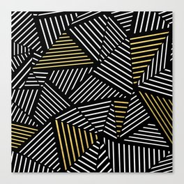 A Linear Black Gold Canvas Print