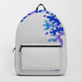 WATERCOLOR SNOWFLAKE 3 - blue and purple palette Backpack